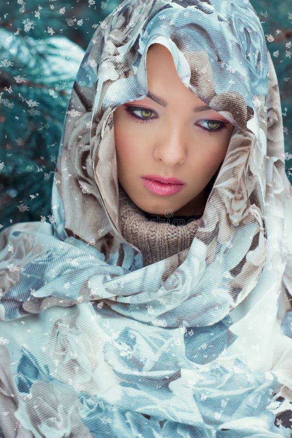 有一条围巾的美丽的年轻性感的神奇妇女在她的站立在森林里的头在油附近在明亮的冬日 库存图片