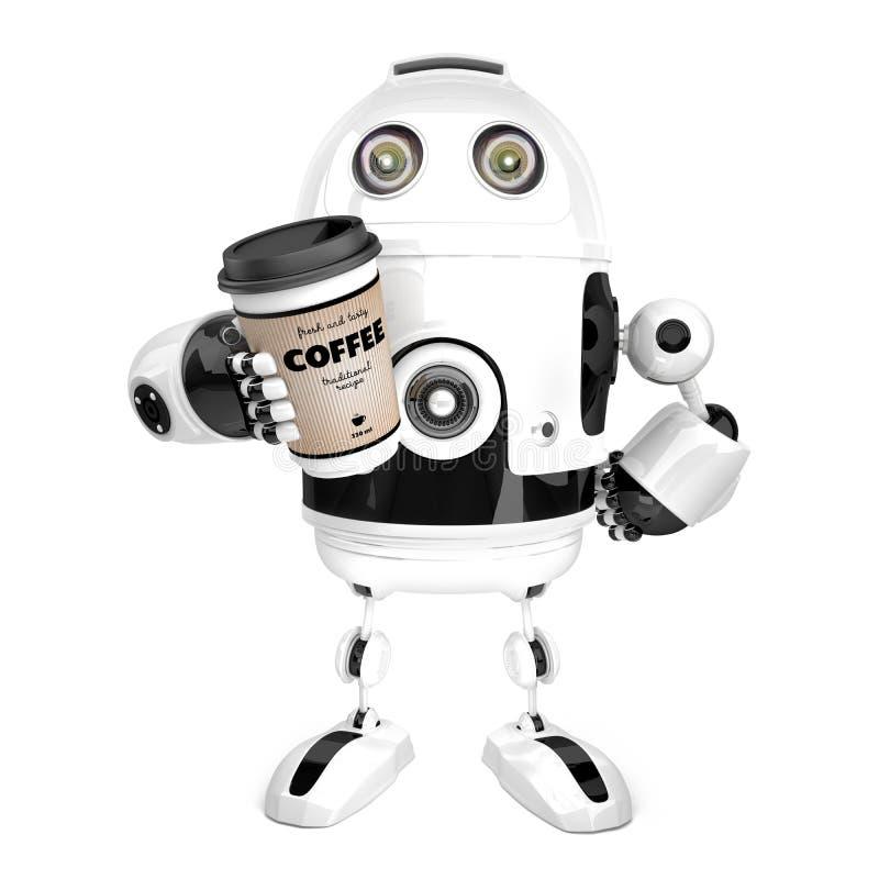 有一杯咖啡的机器人 3d例证 查出 包含 向量例证