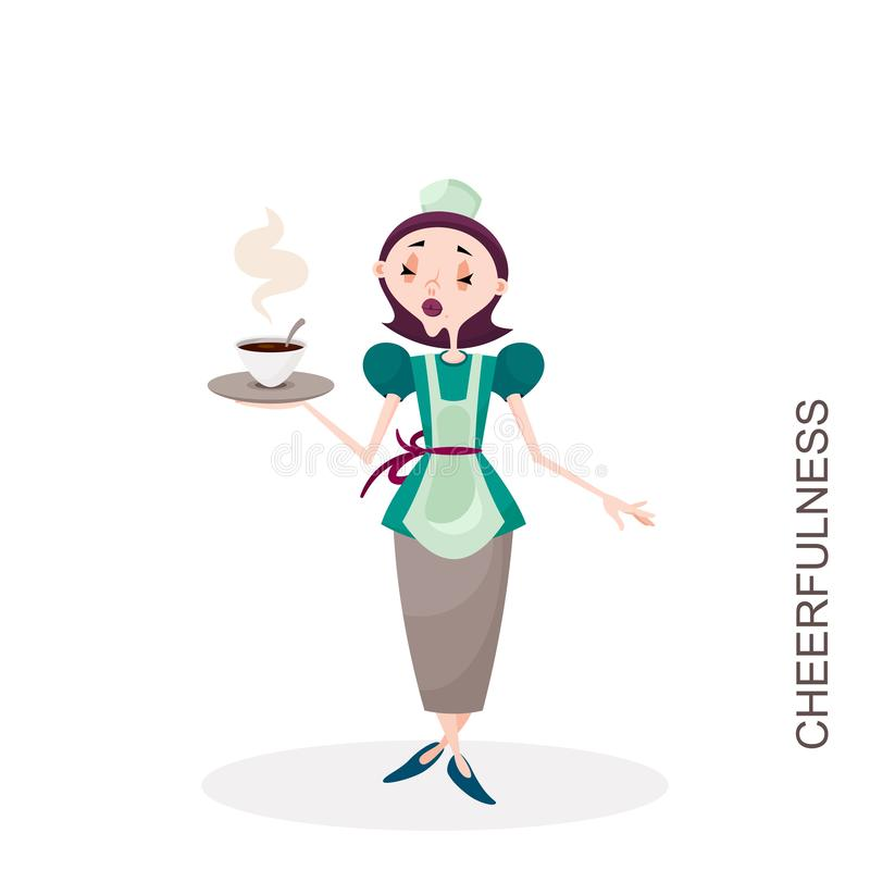有一杯的女孩热的茶 皇族释放例证