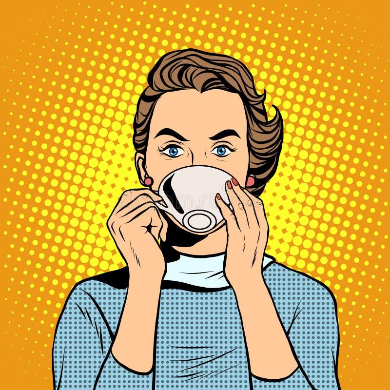 有一杯茶的女孩或咖啡 向量例证