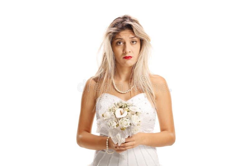 有一根杂乱头发的哀伤的新娘 库存图片