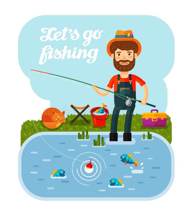 有一根钓鱼竿的渔夫在他的手上 野营,假期,放松 外籍动画片猫逃脱例证屋顶向量 向量例证