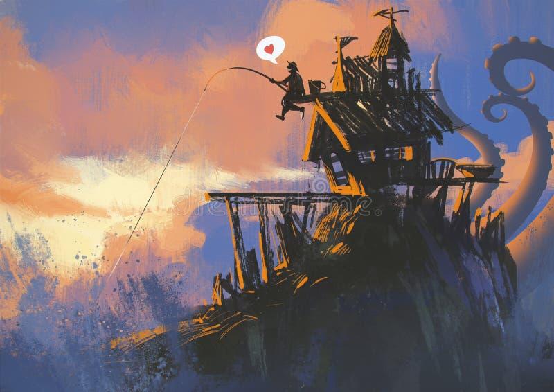 有一根钓鱼竿的渔夫有大抓住 库存例证