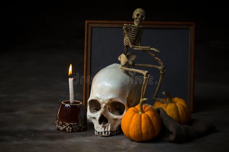 有一点人的头骨的静物画头骨 免版税库存图片