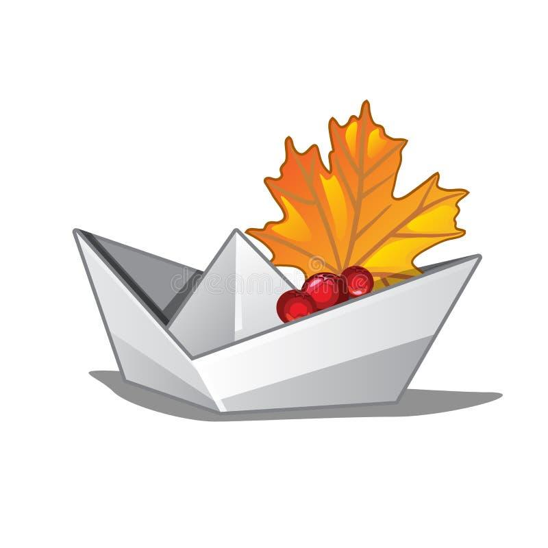 有一片下落的枫叶的纸小船 在白色背景隔绝的秋天的标志 传染媒介动画片特写镜头 向量例证