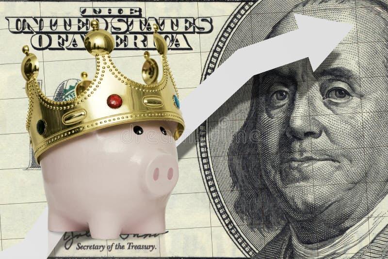 有一百元钞票的存钱罐与箭头 资本成长的概念 库存照片
