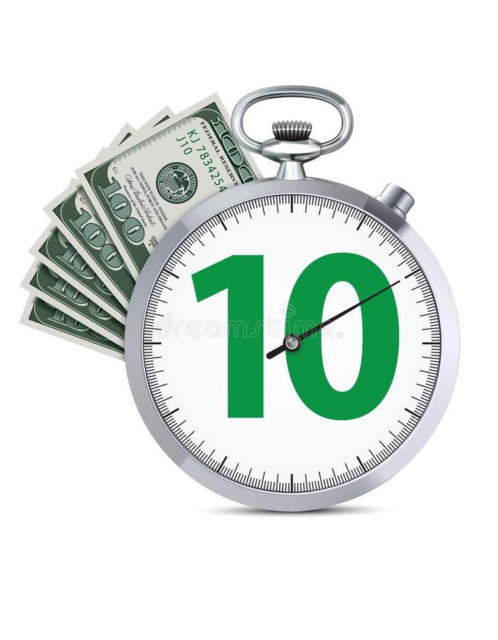 有一百美元的秒表钞票 向量例证