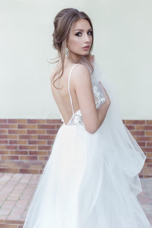 有一种欢乐发型的美丽的嫩甜女孩新娘和光在她的手上化妆与面纱有富有的服装jewelery earr的 免版税库存照片