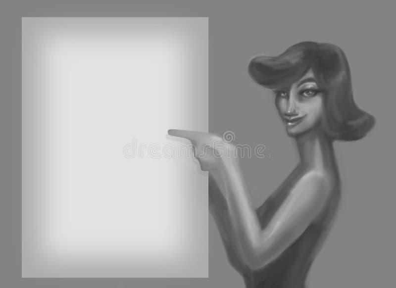 有一种老发型的微笑的逗人喜爱的被绘的夫人从显示在一个空的白色板料例证的黑白电影一个手指在a 库存例证
