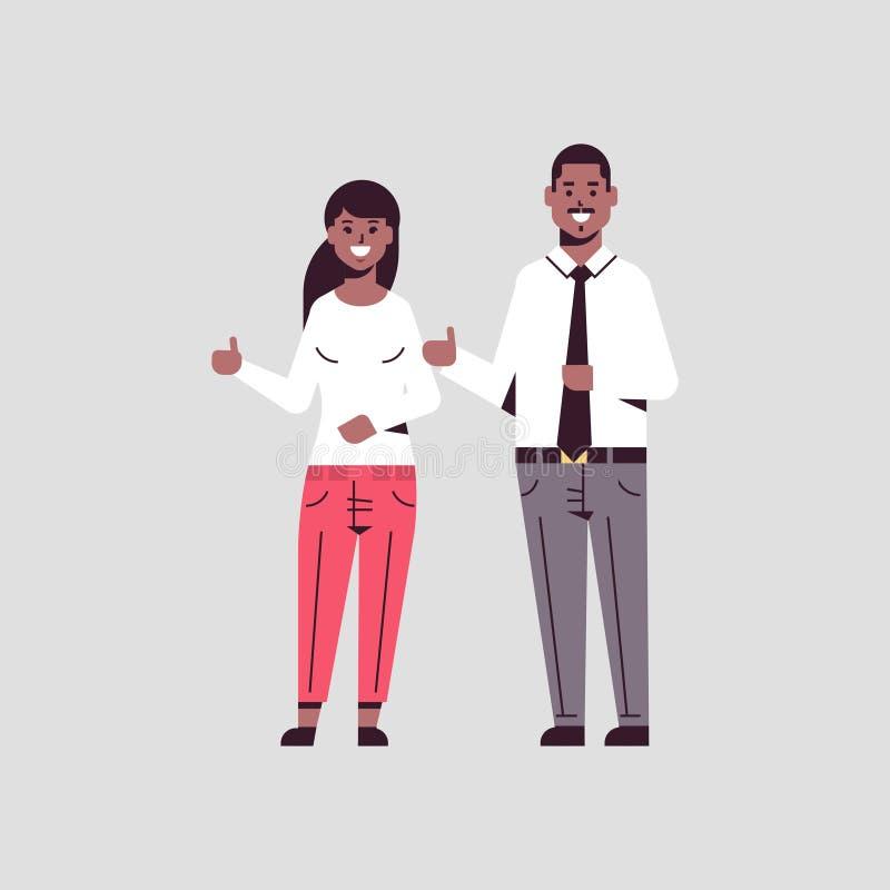 有一起站立赞许姿态非裔美国人的夫妇的工友的愉快的买卖人人妇女藏品手 向量例证