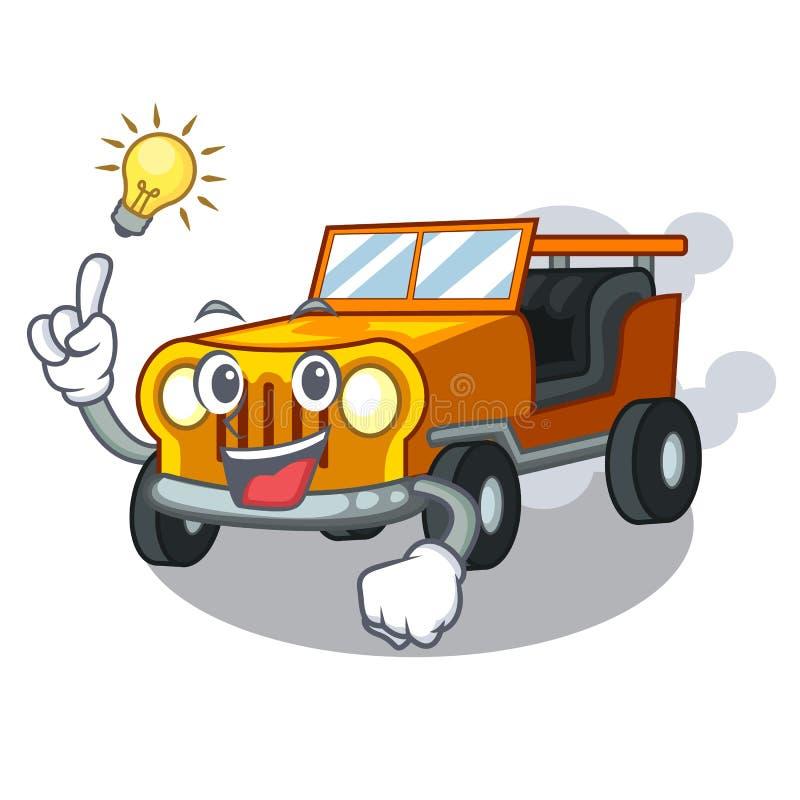 有一辆想法吉普动画片汽车在前面赦免 库存例证