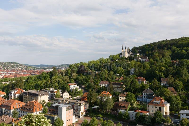 有一部分的朝圣教会Kaeppele的维尔茨堡德国 图库摄影