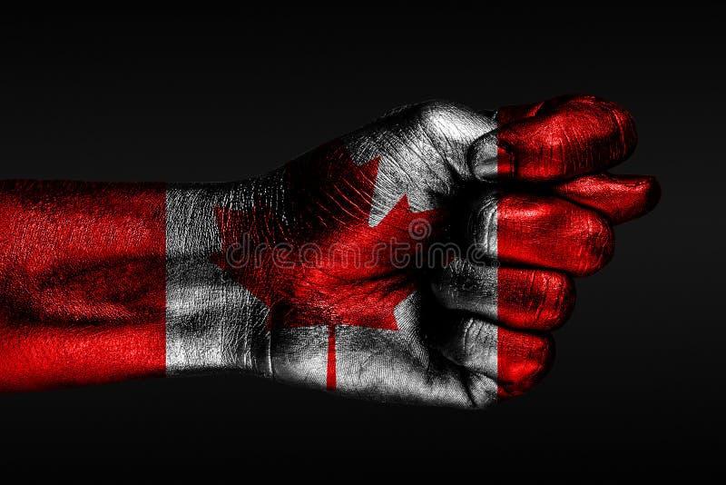 有一面被绘的加拿大旗子的一只手显示一棵无花果,侵略,分歧,在黑暗的背景的争执的标志 库存图片