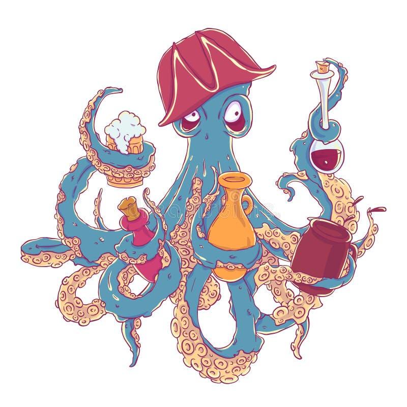 有一份饮料的醉酒的章鱼海盗在触手 一个竖起的帽子的醉汉歪斜 库存例证