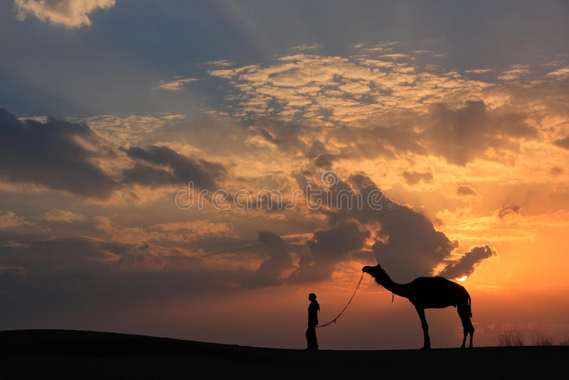 有一头骆驼的在日落,在贾伊斯附近的塔尔沙漠现出轮廓的人 免版税库存图片