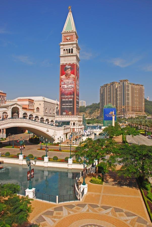 有一Grantai的威尼斯式澳门赌博娱乐场在背景中 免版税库存照片