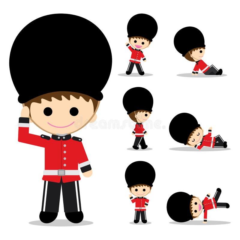 有七姿势的英国士兵 库存图片