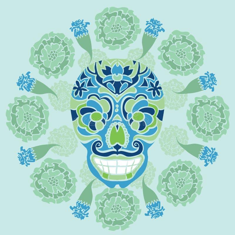 有万寿菊样式的墨西哥头骨 库存图片