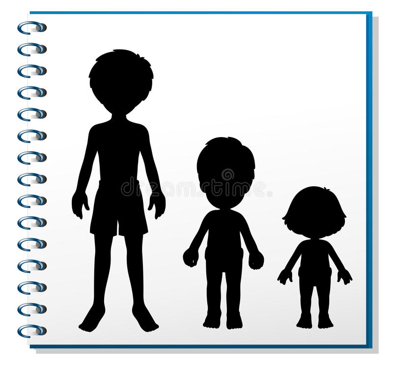 有三个人的图象的一个笔记本 皇族释放例证