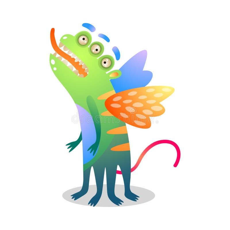 有三个眼睛和翼的逗人喜爱的绿色五颜六色的妖怪 皇族释放例证
