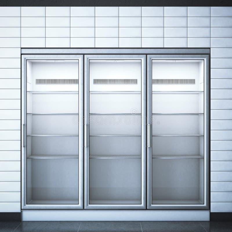 有三个门的冰箱在商店 3d翻译 图库摄影
