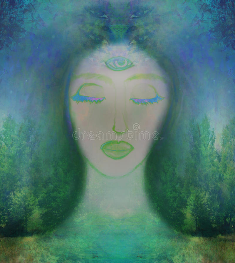 有三只眼的,精神超自然的感觉妇女 库存例证