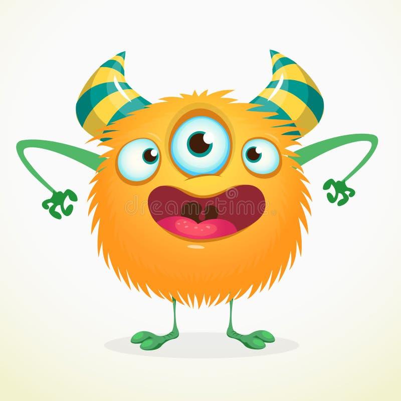有三只眼睛的动画片橙色妖怪 传染媒介逗人喜爱的妖怪吉祥人例证为万圣夜 向量例证