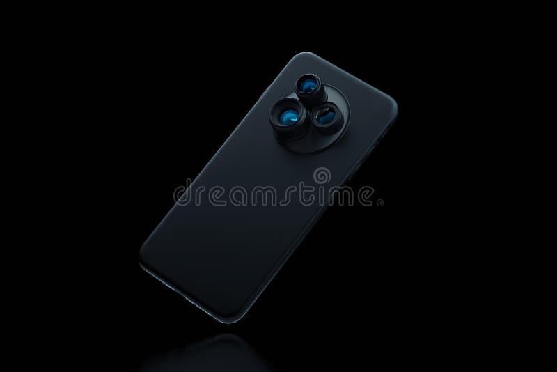 有三台照相机的黑现代手机在黑背景 3d翻译 库存例证