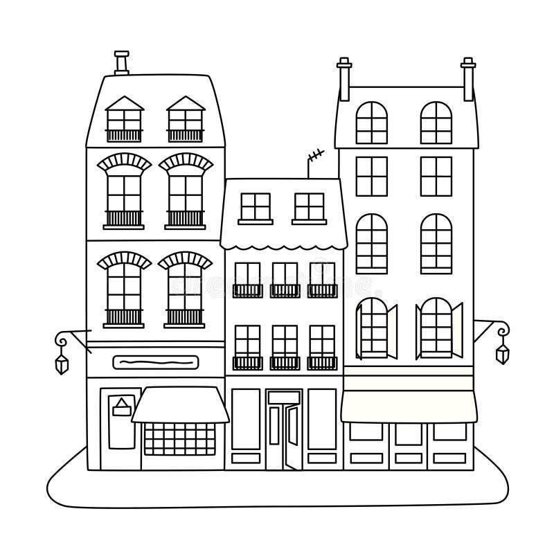 有三家大厦和商店的街道 向量例证
