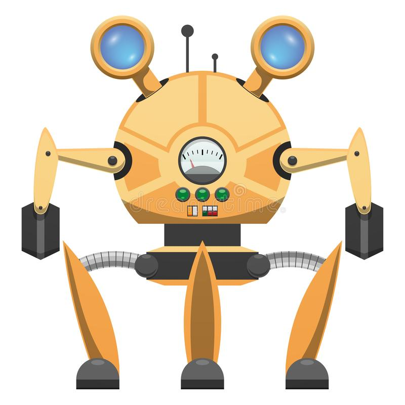 有三条腿得出的象的黄色金属机器人 向量例证