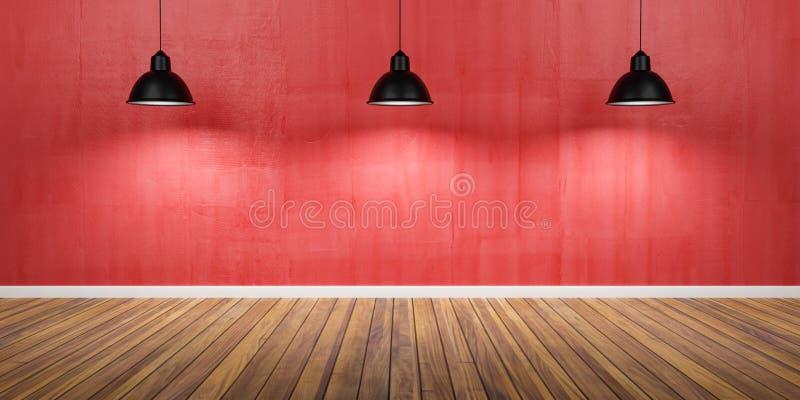 有三盏灯、水泥红色墙壁和木地板3D例证的室 免版税库存照片