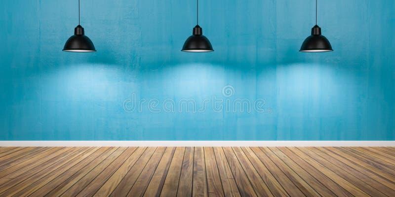 有三盏灯、水泥蓝色墙壁和木地板3D例证的室 免版税库存图片