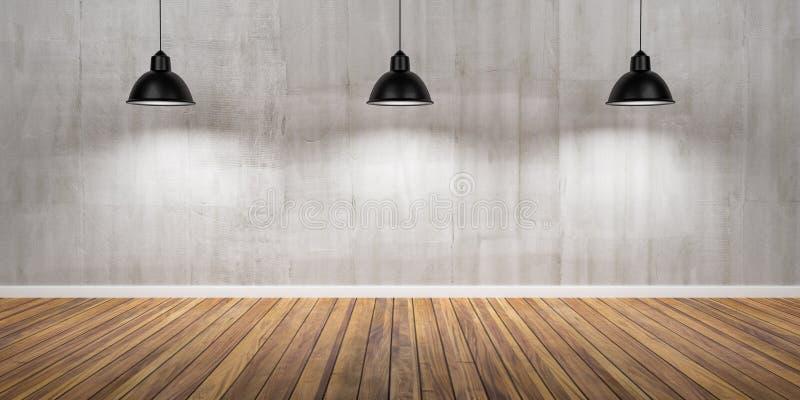 有三盏灯、混凝土墙和木地板3D例证的室 库存图片