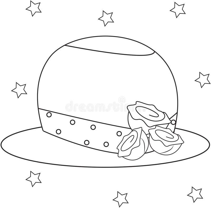 有上色页的玫瑰的女孩的帽子 向量例证