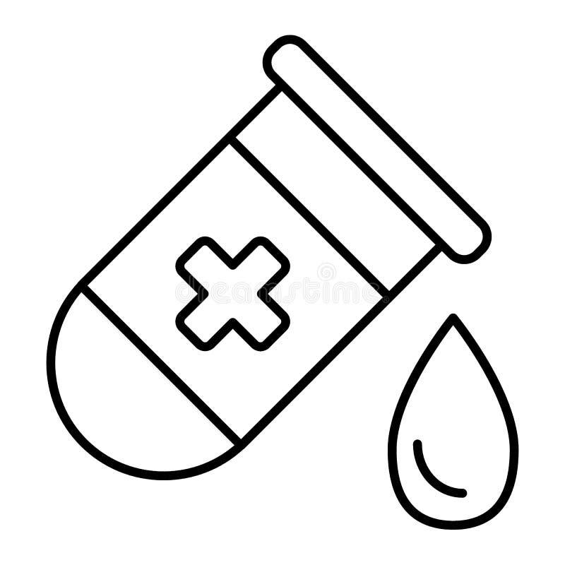 有下落稀薄的线的象试管 有小滴在白色隔绝的传染媒介例证的医疗烧瓶 医学化验 向量例证