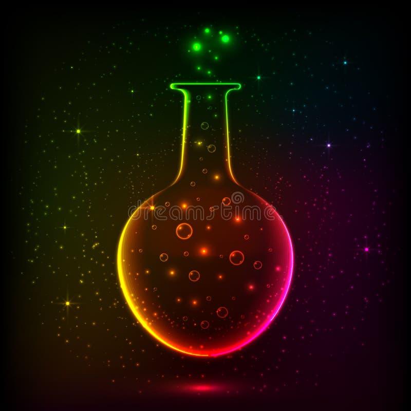 有不可思议的光的光亮的彩虹瓶 向量例证
