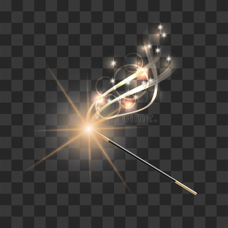 有不可思议的金闪闪发光足迹的不可思议的鞭子 皇族释放例证
