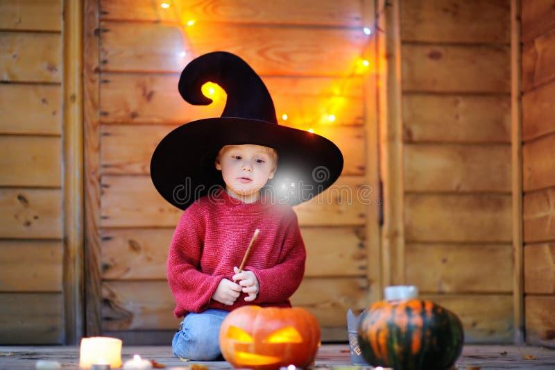 有不可思议的鞭子的逗人喜爱的矮小的巫术师 免版税库存照片