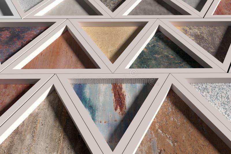 有不同的材料三角的墙壁在白色框架的 皇族释放例证