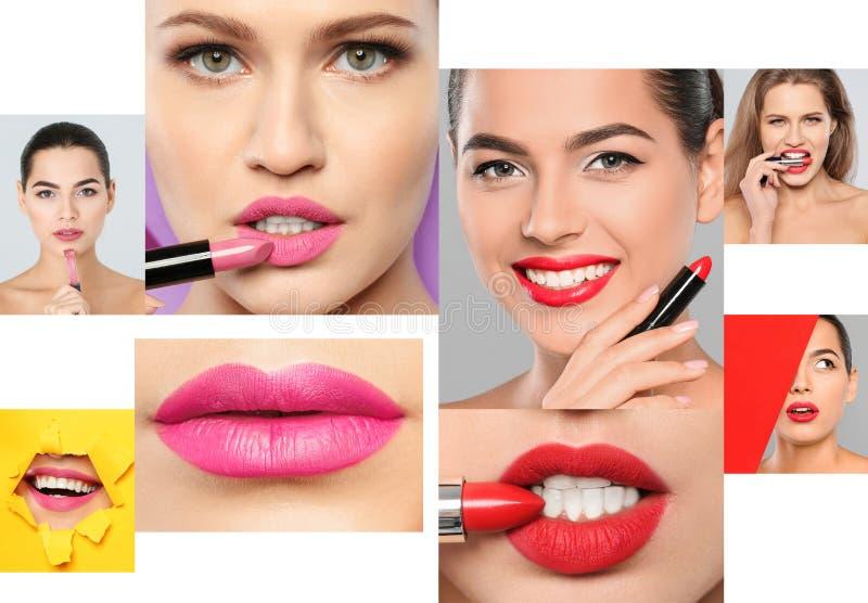 有不同颜色唇膏的肉欲的妇女在白色背景 库存图片