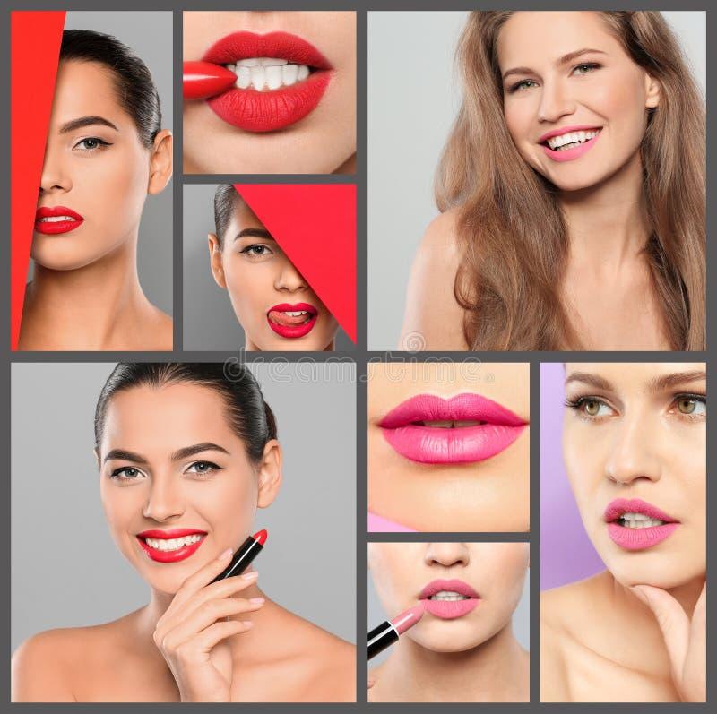 有不同颜色唇膏的肉欲的妇女 免版税库存图片