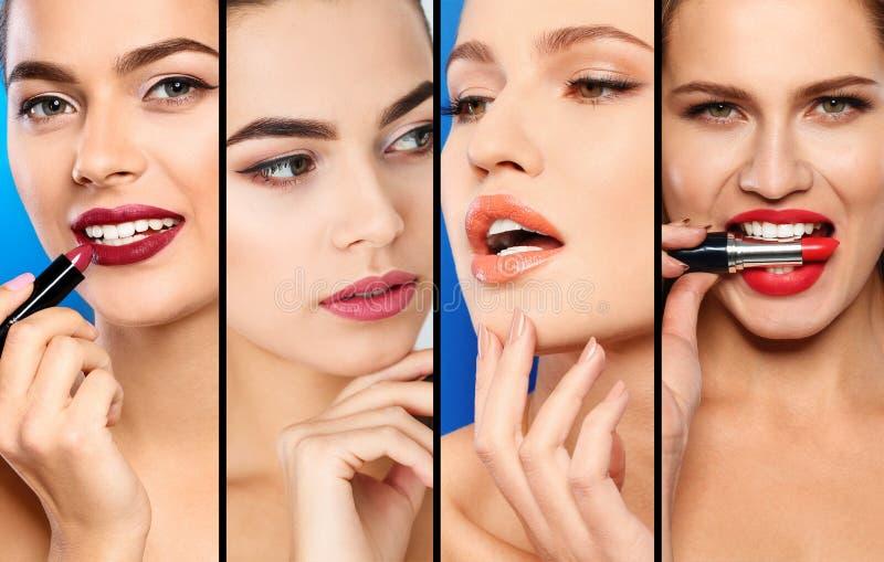 有不同颜色唇膏的,特写镜头肉欲的妇女 免版税库存照片