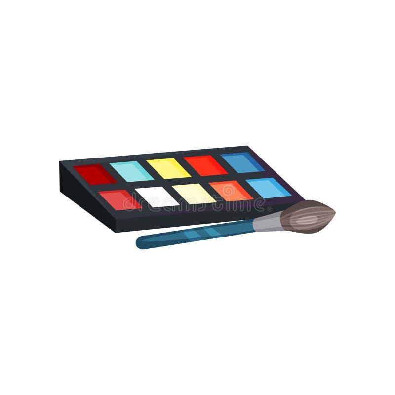 有不同颜色的眼影演员构成的调色板和刷子 面部化妆用品 秀丽题材 平的传染媒介象 库存例证