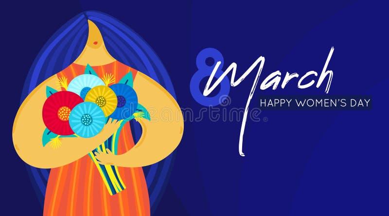 有不均衡的图的女孩拿着花束 平的设计 时髦样式 3月8日 愉快的妇女` s天 向量例证