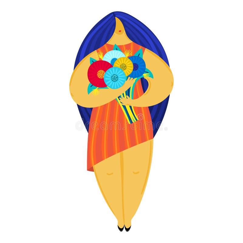 有不均衡的图的女孩拿着花束 平的设计 时髦样式 身体正面 礼服的妇女 皇族释放例证