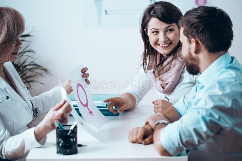有不孕症的已婚夫妇和正面看病期间 库存照片