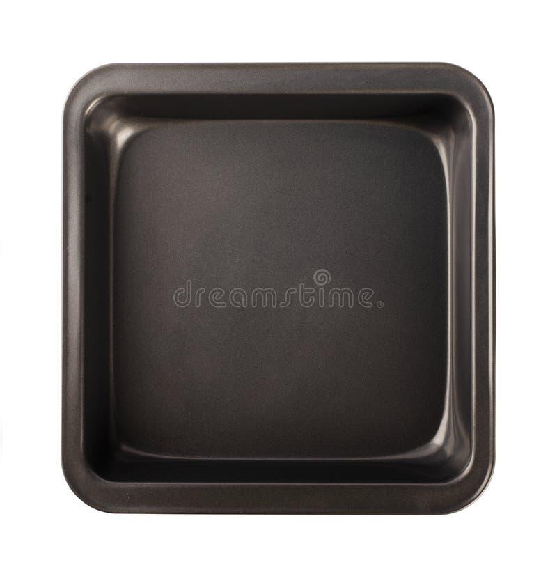 有不粘锅的涂层的,顶视图烘烤的盘子 图库摄影