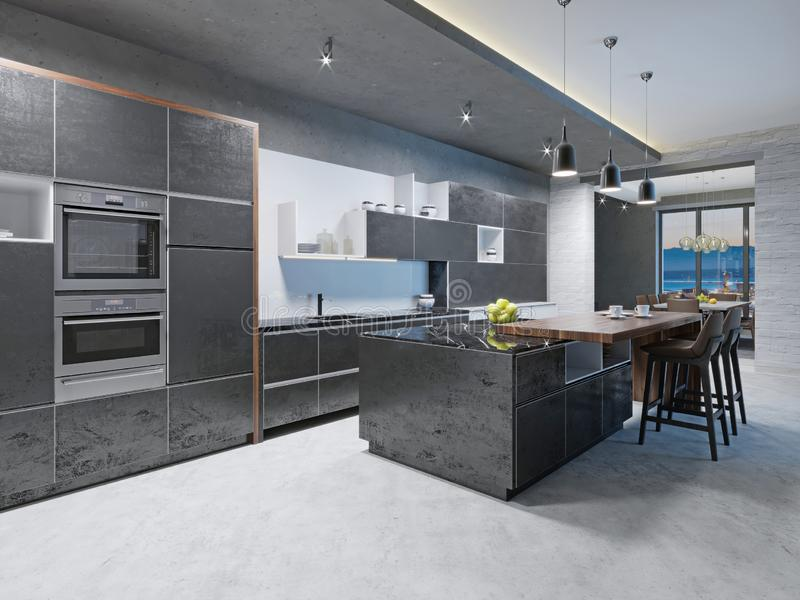 有不锈钢装置的豪华厨房在当代豪宅 皇族释放例证