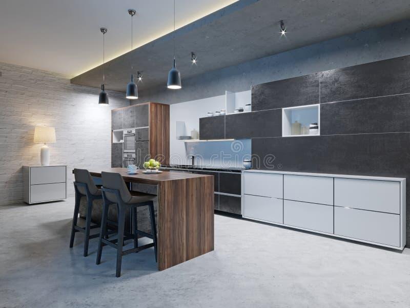 有不锈钢装置的豪华厨房在当代豪宅 向量例证