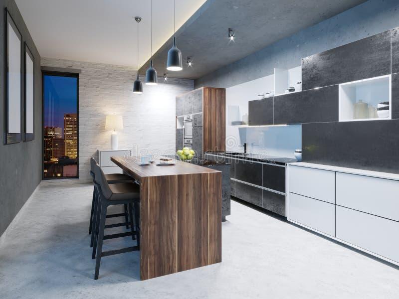 有不锈钢装置的豪华厨房在当代豪宅 库存例证